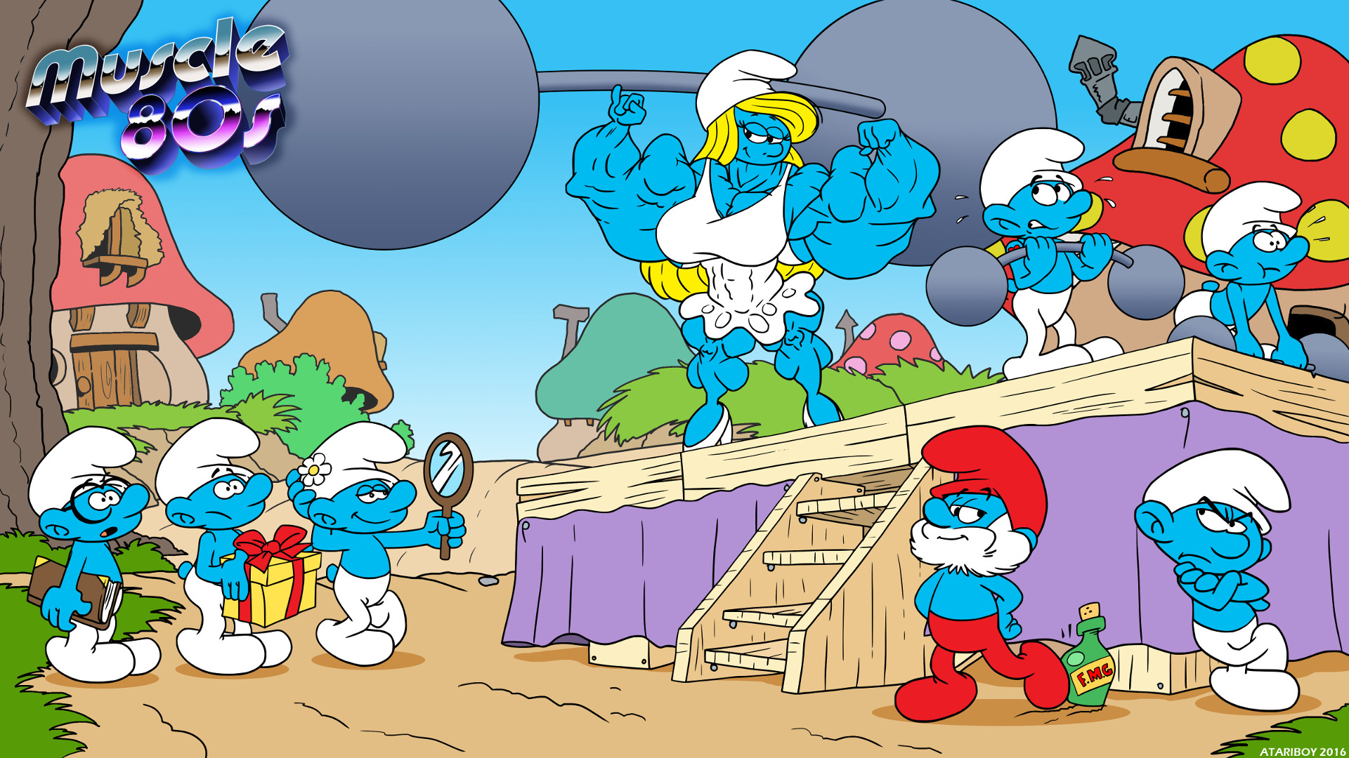 Smurfs Cartoon Characters 80 S : Muscle s the smurf by atariboy on deviantart