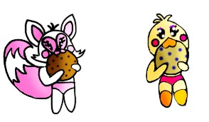 Mangle and Toy Chica eatig a cookie by Yandereanimatronic87