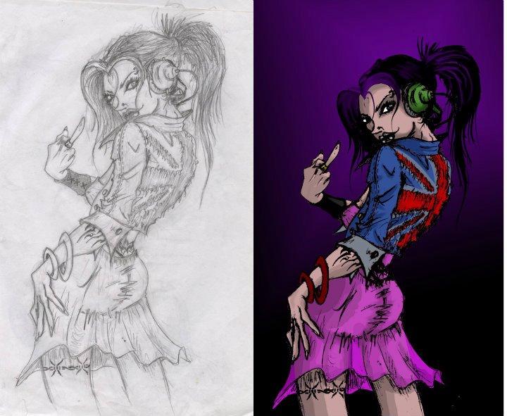 Punk Girl Sketch Digital by TonyGaMa