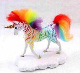 Rainbow Zebra Unicorn Sculpture