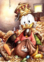 Watercolor tribute to Scrooge McDuck by eikomakimachi
