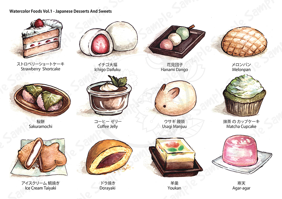 Watercolor Foods Collection - Sample by eikomakimachi on ...