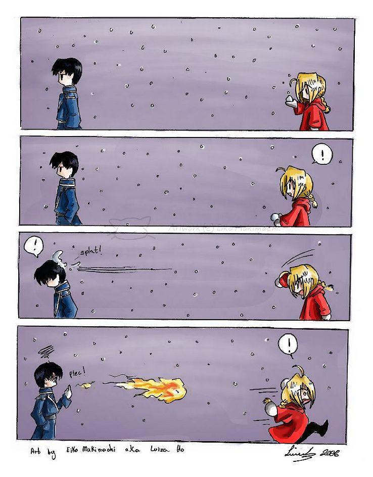 FMA: Snowball fight by eikomakimachi