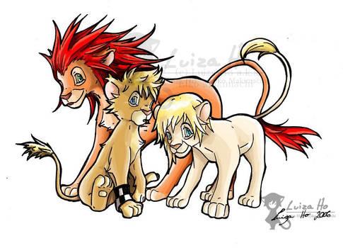 Roxas+Axel+Namine - Lion form