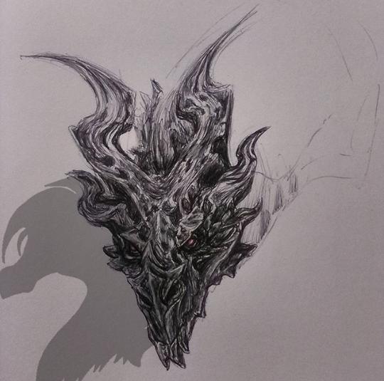 Skyrim- Alduin Biro Sketch By SavouryChaffinch On DeviantArt
