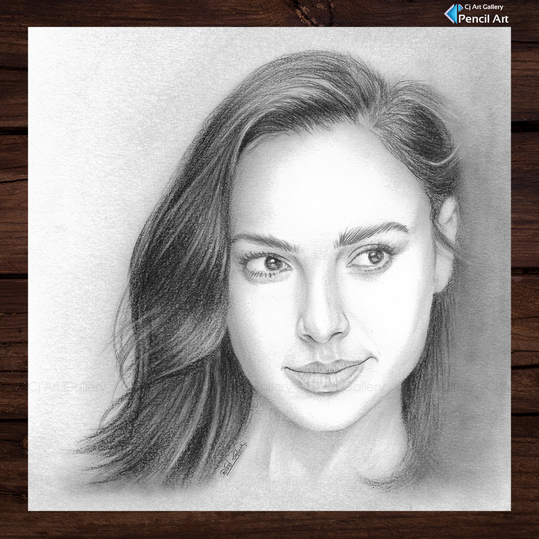 Gal Gadot Realistic Pencil Portrait