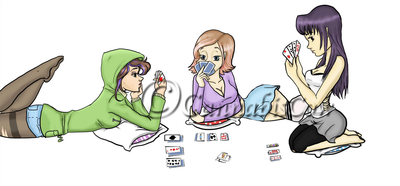 Jeanette, Kella And Destiny playing 3 card by CannabisCow