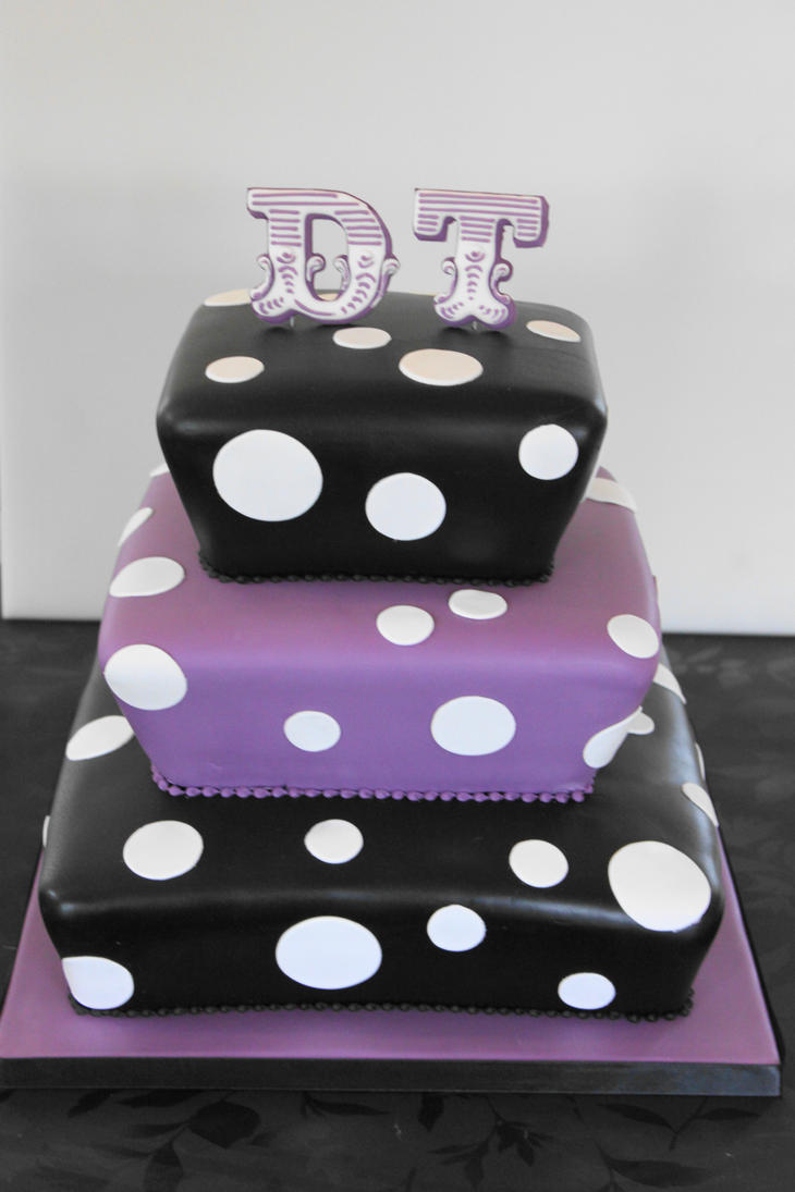 Black and purple wedding cake by the fairy cakery on deviantart