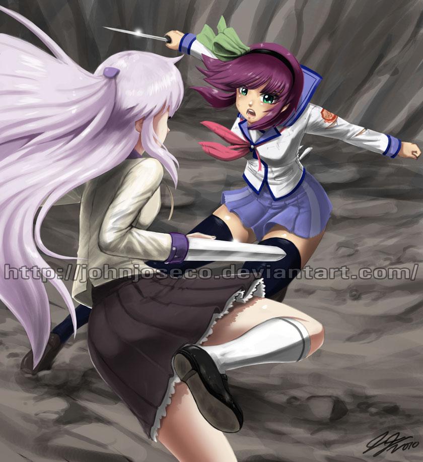 Angel Beats: Yuri VS Tenshi by johnjoseco on DeviantArt