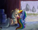 Apple and Rainbow in a Barn