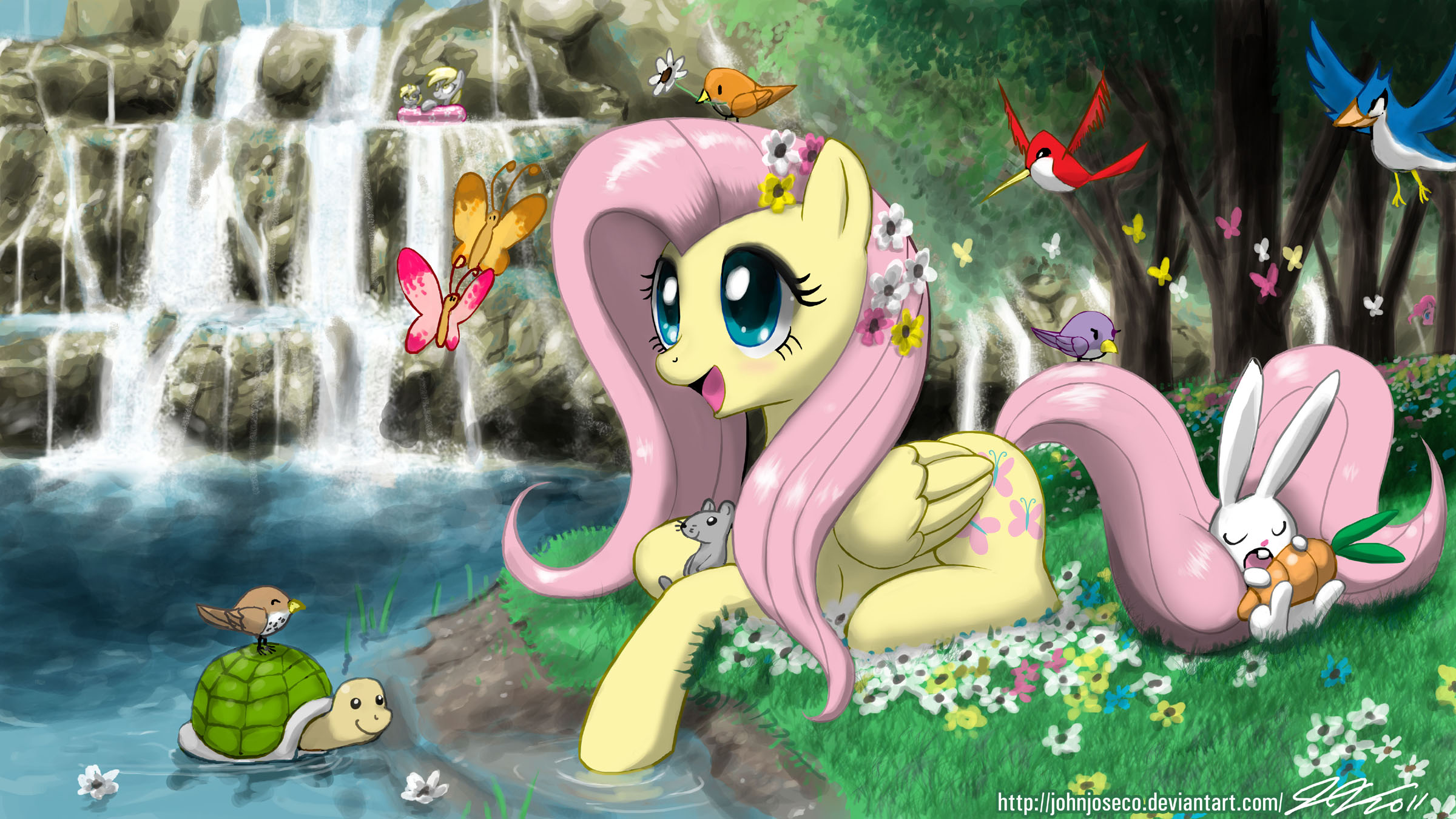 Fluttershy's Paradise by johnjoseco