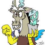 Discord and Sea Pony Lyra