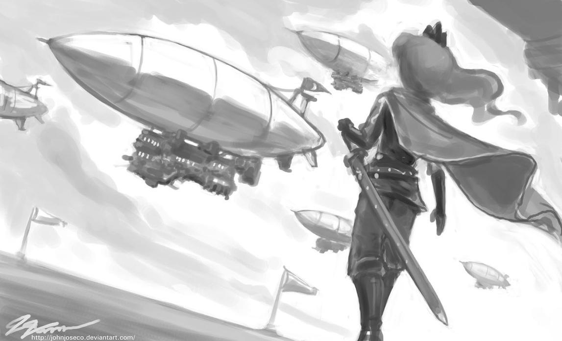 Luna Observes Her Fleet by johnjoseco
