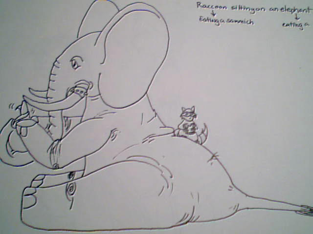 Elephant eating a banana-- by VixenRapture