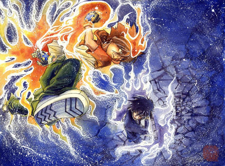 Tsuna VS Hibari by Ephirel
