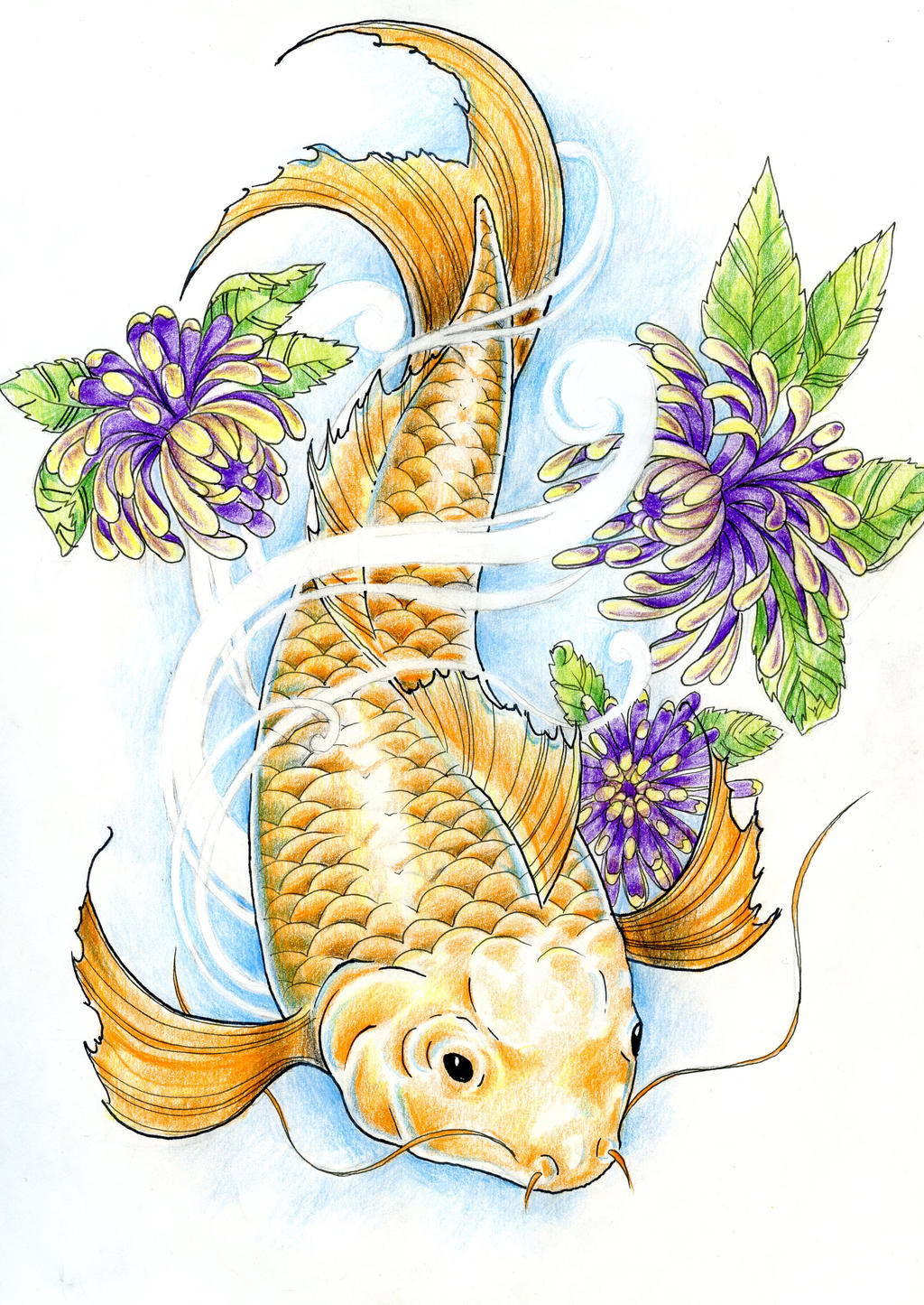 This is a picture of Accomplished Japanese Koi Fish Drawing
