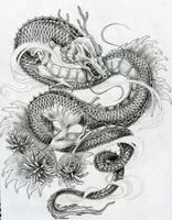 Japanese dragon tattoo design by ZakariasEatWorld