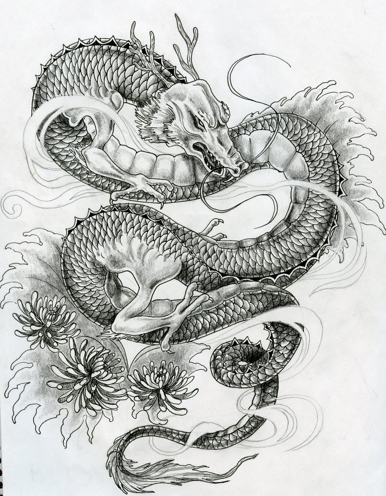 Japanese dragon tattoo design by ZakariasEatWorld