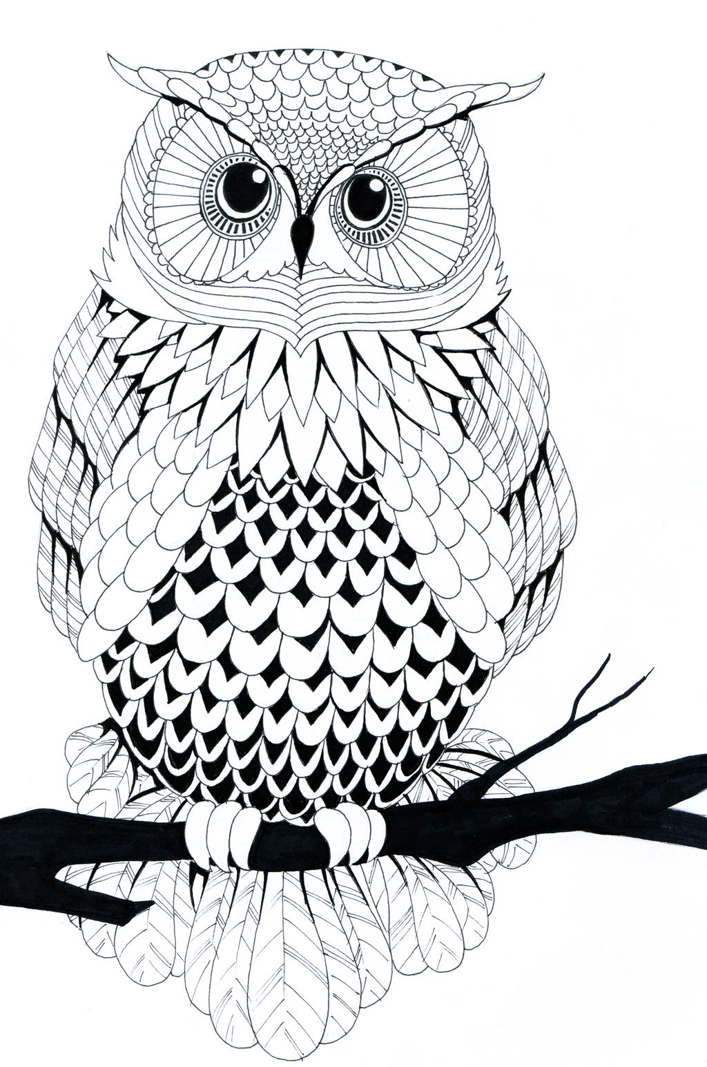 coloring page owl - black and white owl by zakariaseatworld on deviantart