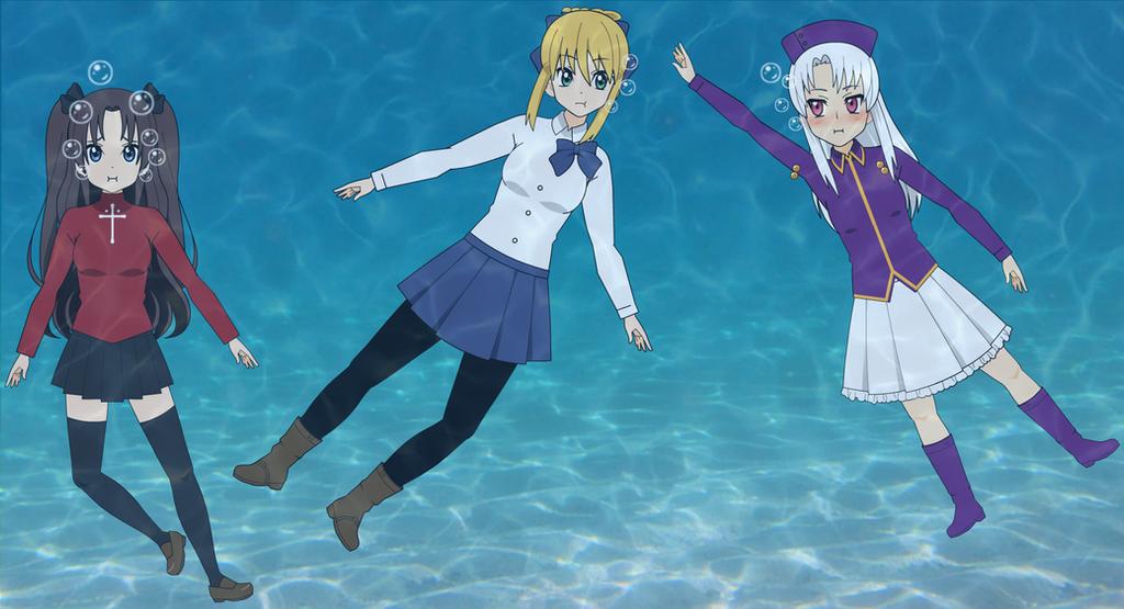 Fate Girls Underwater! by BlueWader