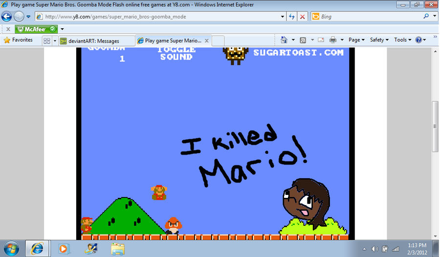 Mario Killed by a goomba by thegirlwiththedisxl on DeviantArt