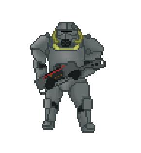 Pixel Brotherhood of steel Paladin by ChromeFlames