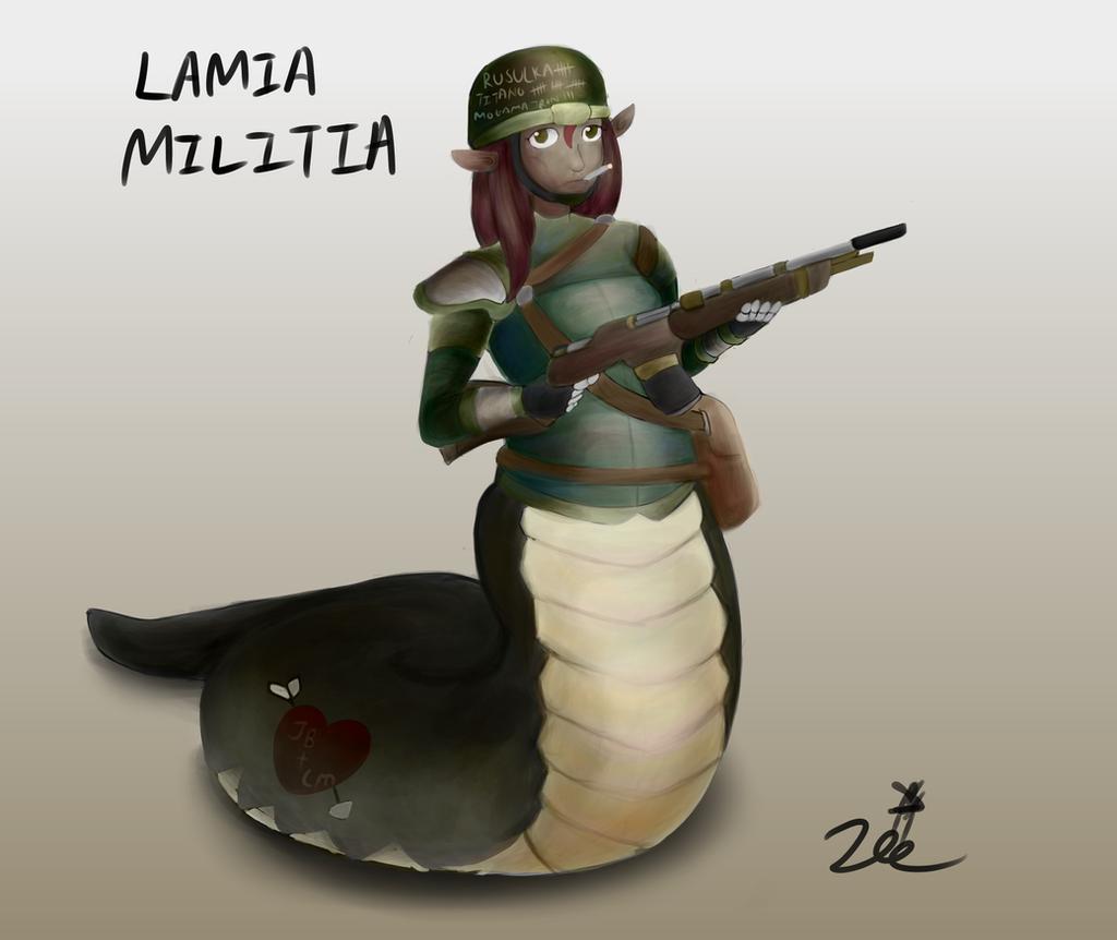 Monmusu marines #1 - Lamia Militiawoman by ChromeFlames