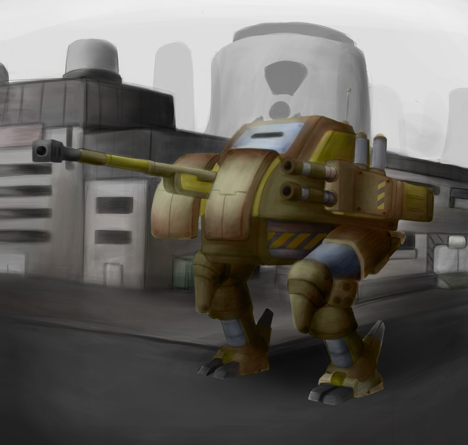 Mecha with a simple background by ChromeFlames