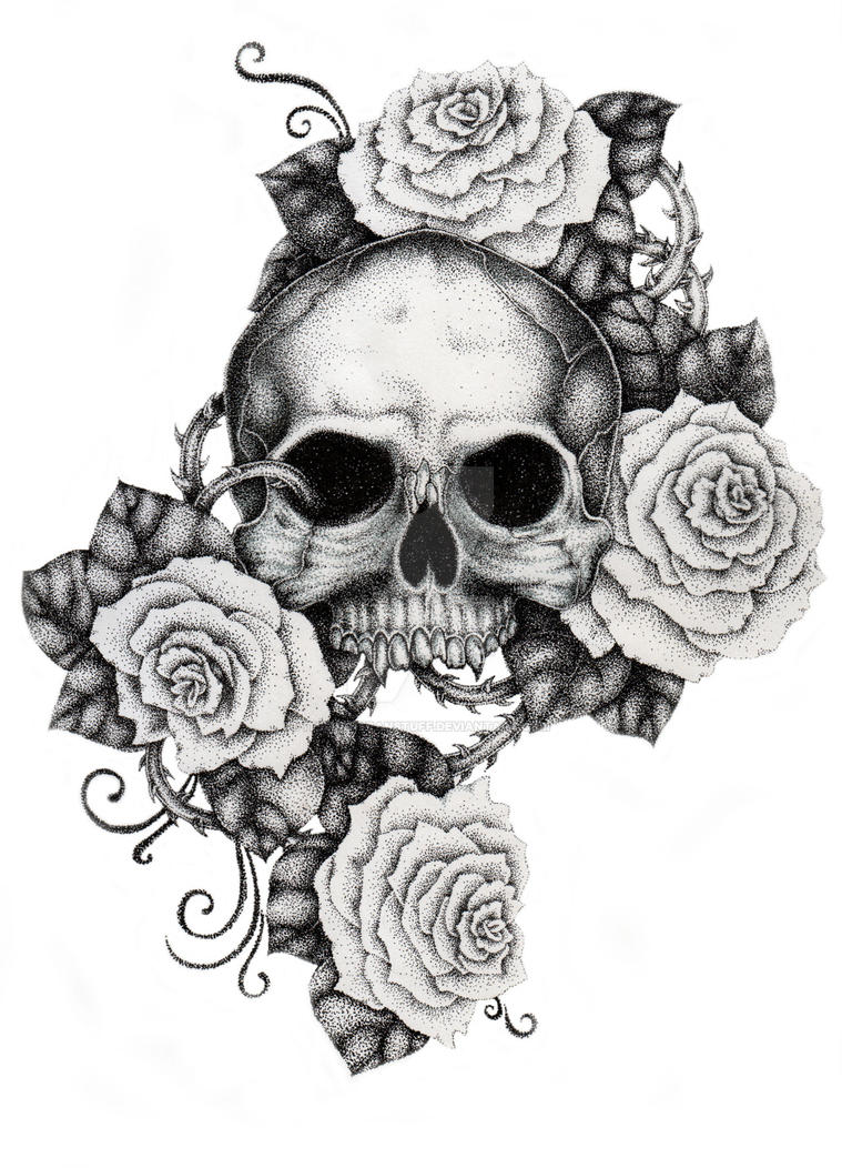 Skull and Roses by ItsFranFranStuff on DeviantArt