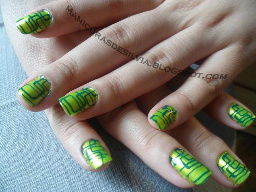 Green Netting nails by kotobayaoi
