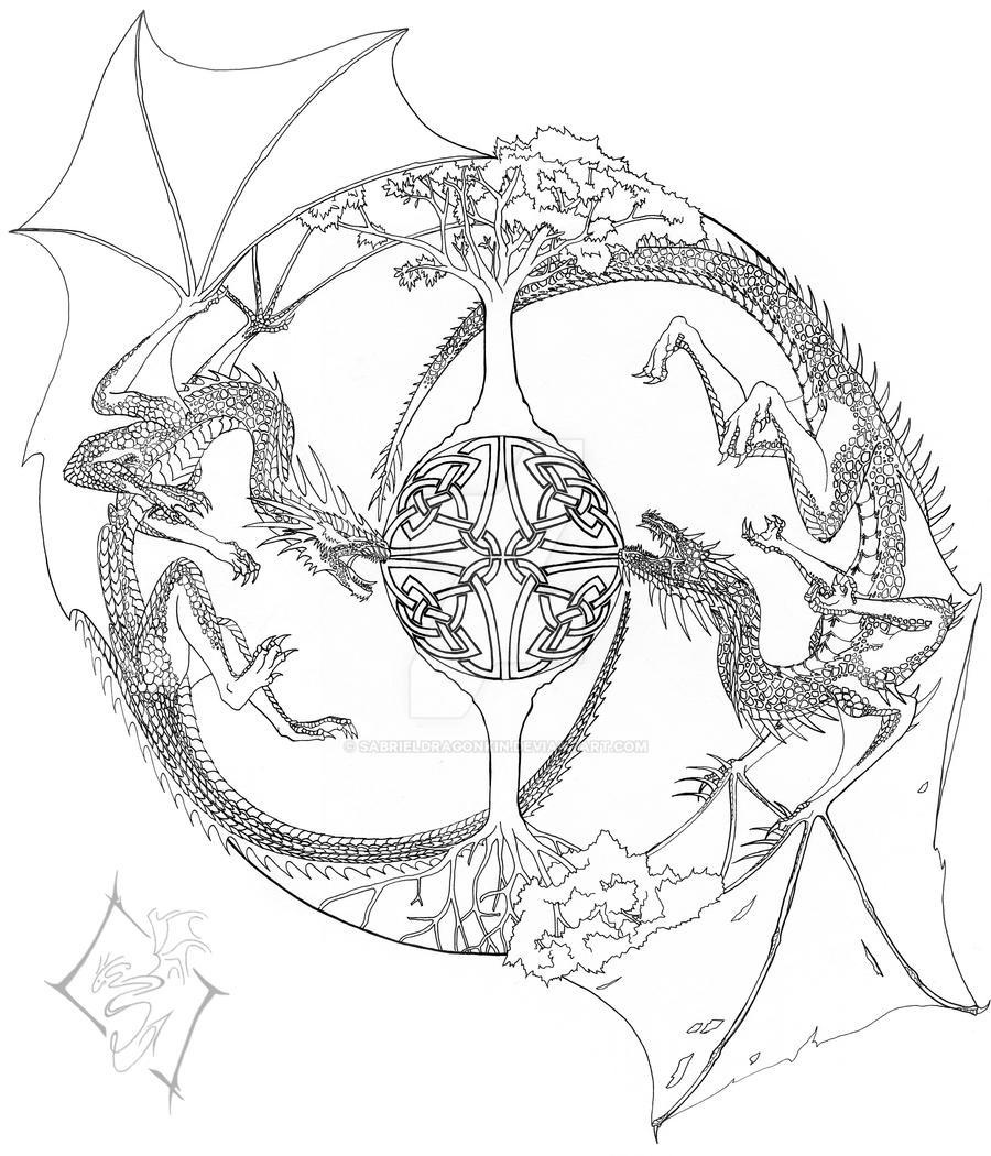Mandala line drawing by sabrieldragonkin on deviantart - Mandala dragon ...
