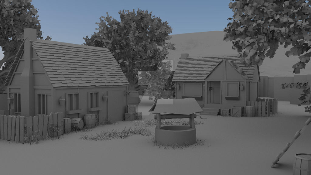 Maya Environment Modeling - Ambient Occlusion Pass by LilyArt2006 on