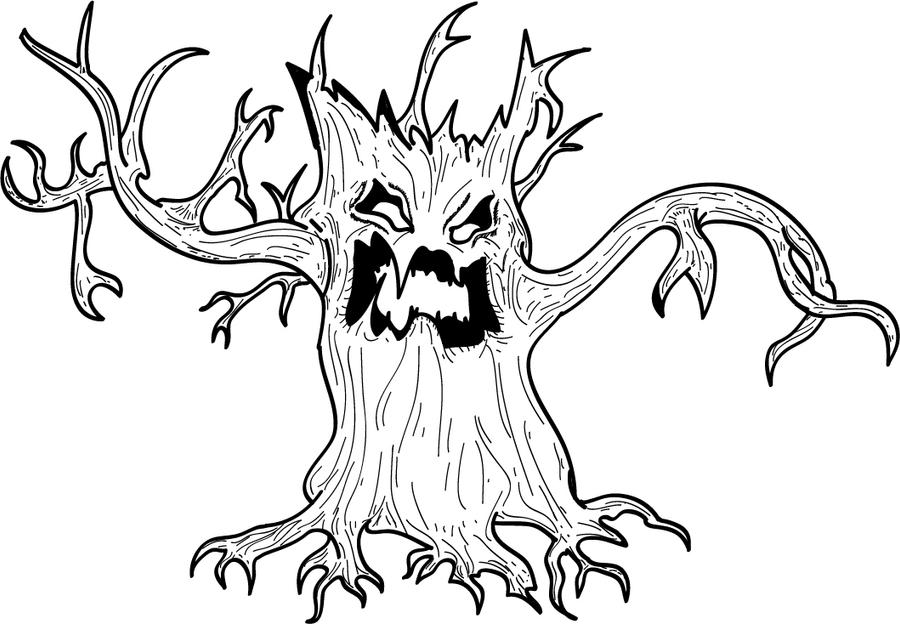 Halloween spooky tree coloring pages ~ Spooky Tree Coloring Coloring Pages