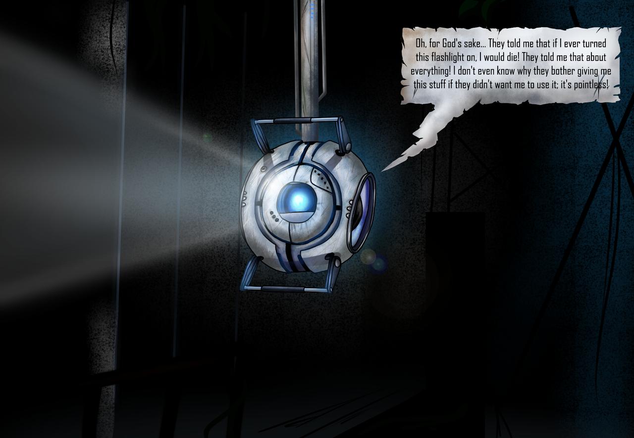 wheatley in the dark portal2 by tommassey250 on deviantart