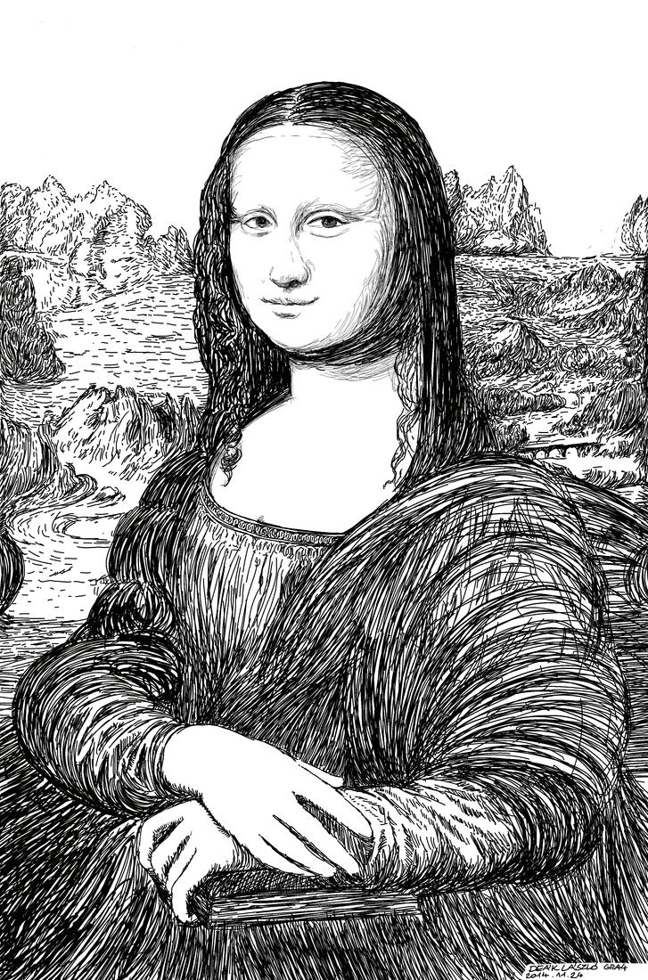 Contour Line Drawing Of Mona Lisa : Mona lisa trace study by sleepydraw on deviantart