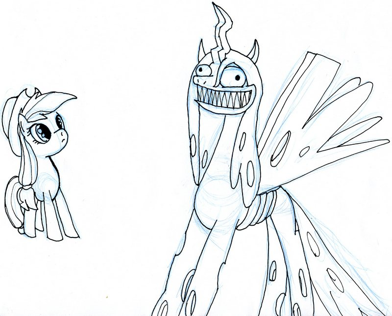 Creepy Chrysalis Grins by EwoudCPonies