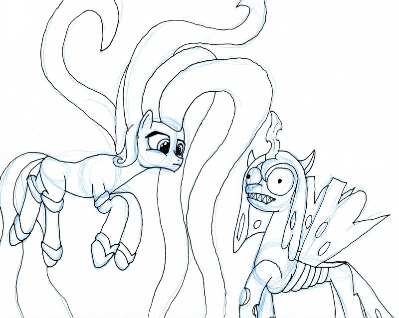 Creepy Chrysalis meets Mane-iac by EwoudCPonies