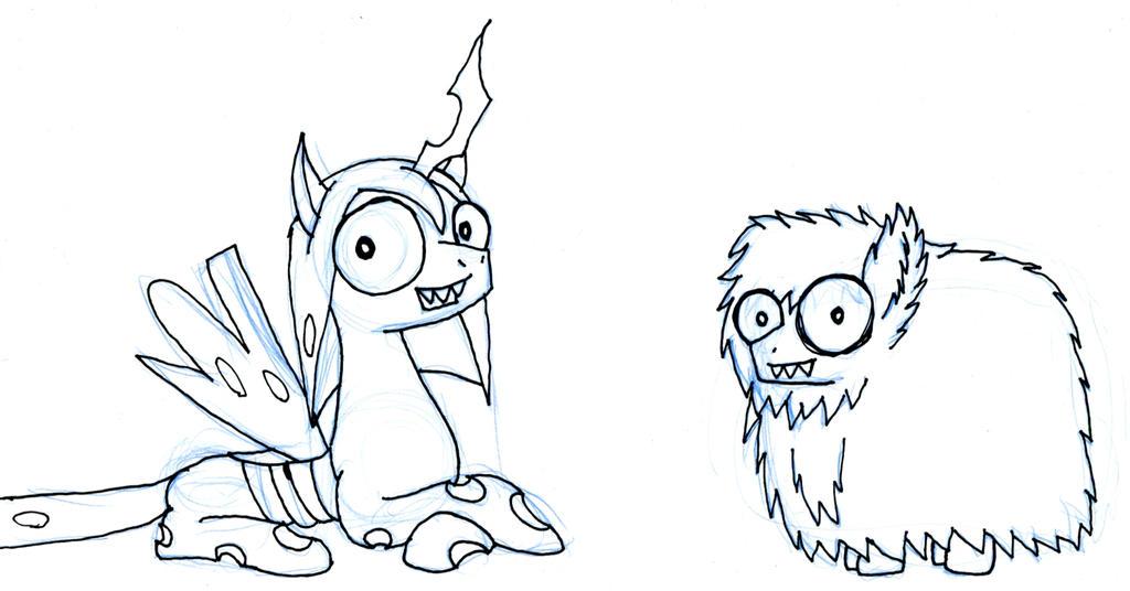 Chrysalis and Creepy Fluffle by EwoudCPonies