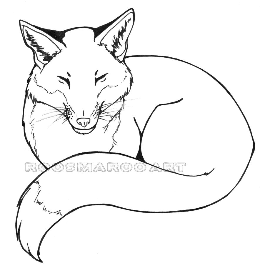 Xfig Line Drawing : Sleeping fox line art by roosmaroo on deviantart