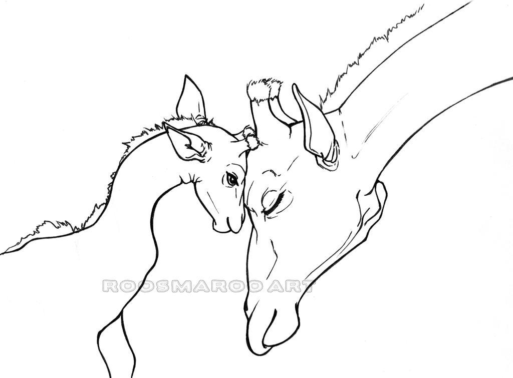 Line Art Giraffe : Giraffes line art by roosmaroo on deviantart