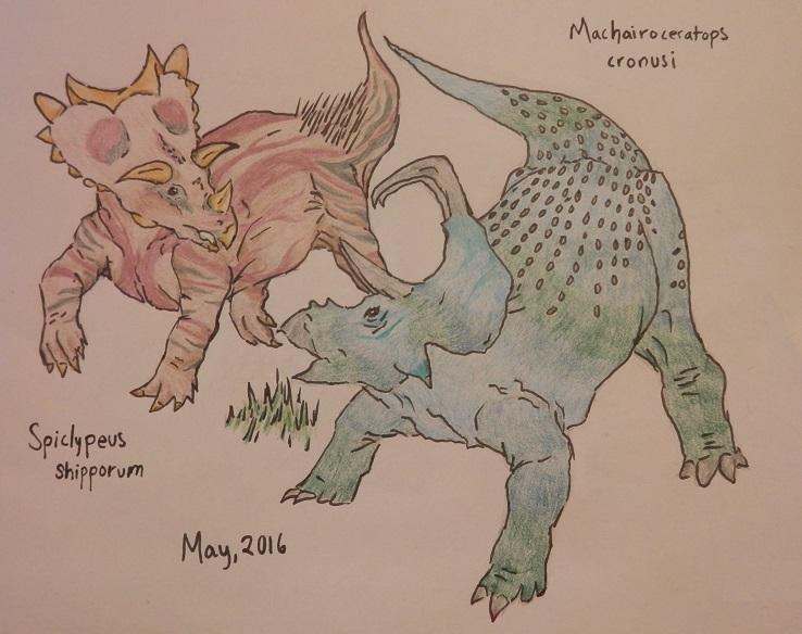 Historic Prehistoric #3:Spiclypeus + Machairo 5/16 by OrangeNinja1987