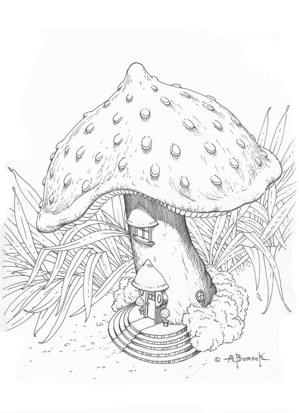 Mushroom house colouring pages the for Fairy house coloring pages