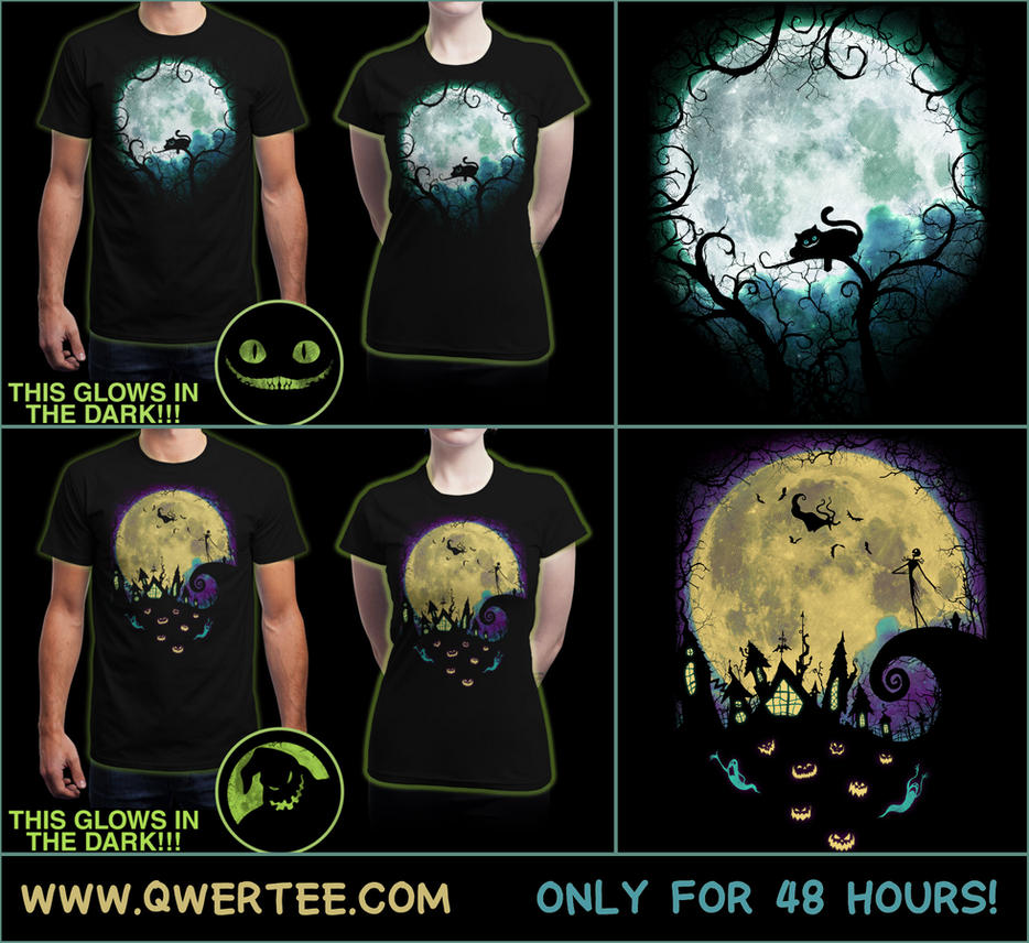 Wonderland Moon and Nightmare Moon T-Shirts by Nocte-Angelus