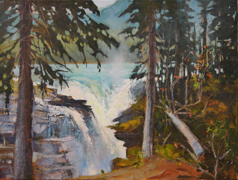 Atabasca Falls Through The Trees by artistwilder