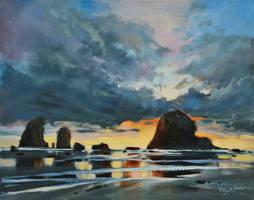 Evening On Cannon Beach by artistwilder