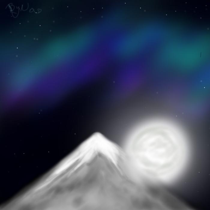 Mountain and Moon by Sandrawinxbyalesita