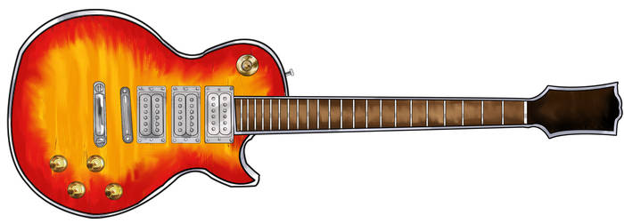 Red Electric Guitar by hairypolack