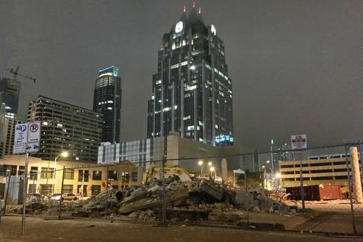 Frost Bank Towers towers over demolition