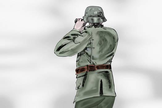 German with Binoculars