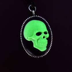 Glow in the Dark Skull Cameo Necklace